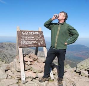 At the summit enjoying an aptly named Baxter Brew