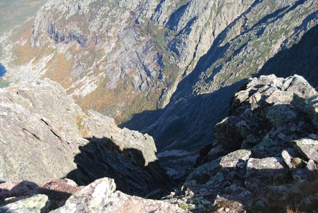looking down the edge, Chimney Pond in the upper left