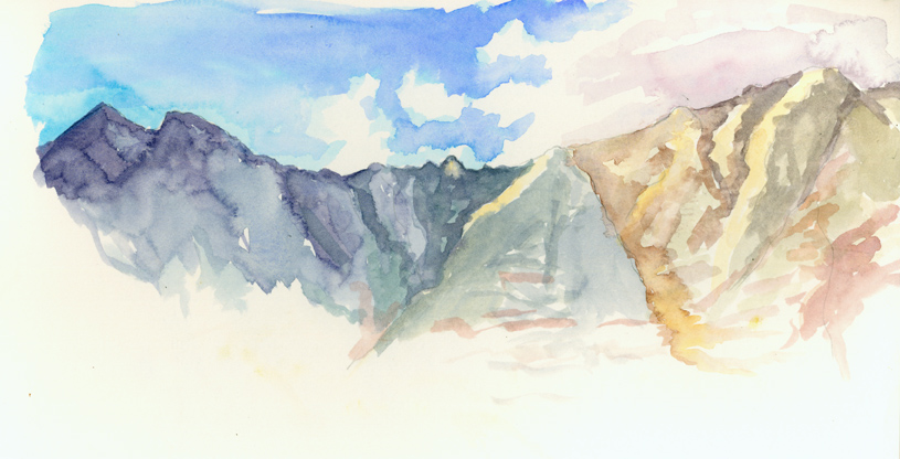 watercolor sketch looking up at the Knife's Edge from Chimney Pond